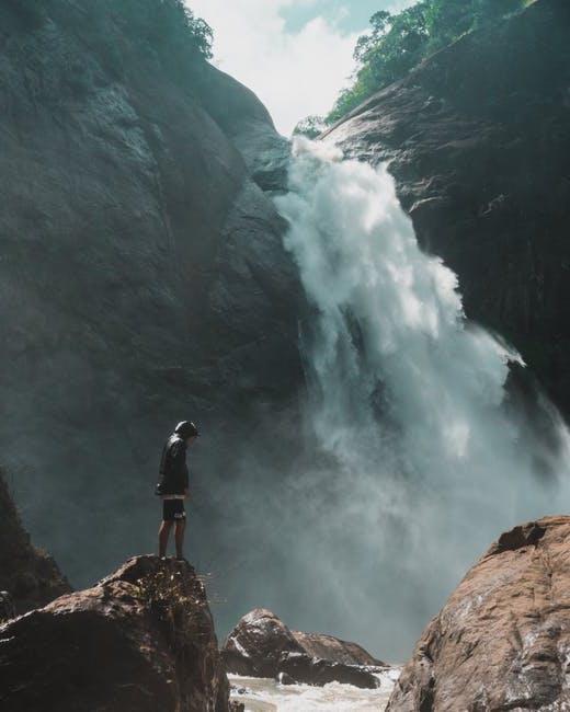 rock to rock, waterfall