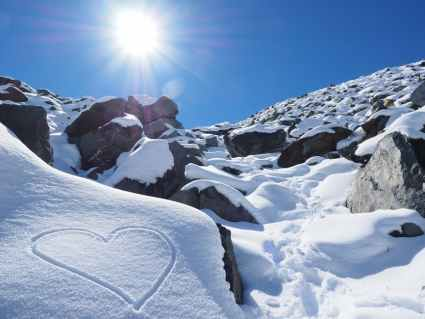 heart on snowy mountain