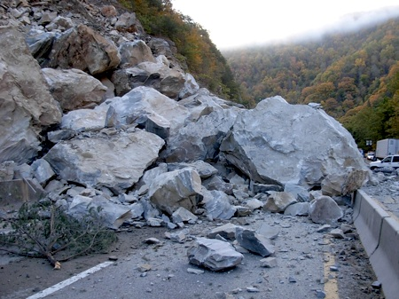 rock slide on road